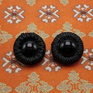 🌈 Vintage antique satin wrap cord jet black glass